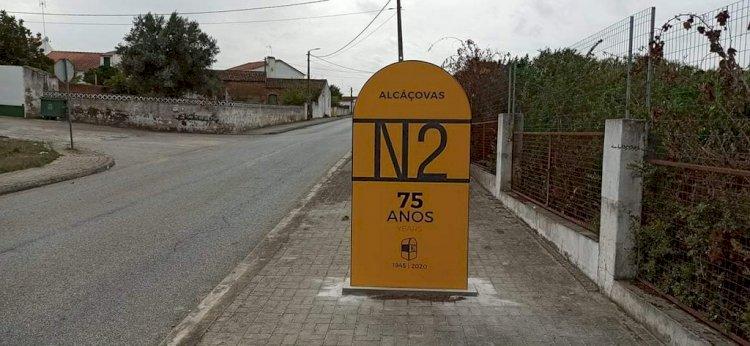 75 anos da EN2 celebrados com a colocação de totens em Alcáçovas