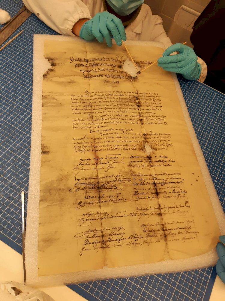 Documento de 1933 foi achado nas obras da da Avenida Dr. Lourenço Peixinho de Aveiro