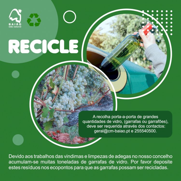 Baião faz Campanha de Sensibilização para a Reciclagem do Vidro durante as Vindimas